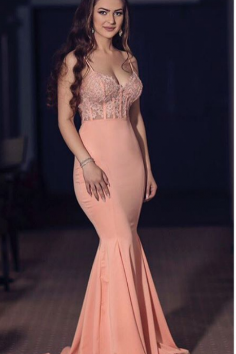 Charming Prom Dress,Sexy Spaghetti Straps Mermaid Prom Dress