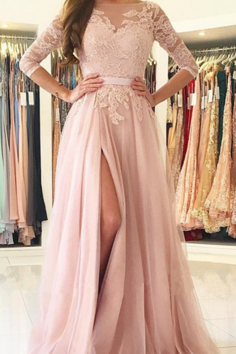Opening Back Dusty Pink Prom Dress 34 Sleeves Lace Appliques Prom Dresses Tulle Women Formal Gowns with Slit Long Prom Dresses Robe De Soiree