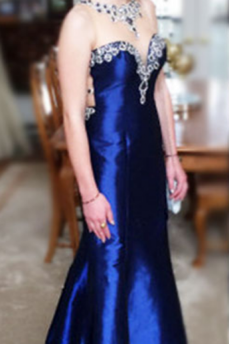 Gorgeous High Quality Prom Dresses,O-Neck Prom Dresses,Satin Prom Dresses,Beading Prom Dresses,See Through Prom Dresses