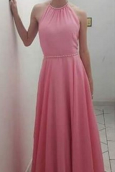 Beaded Halter Pink Prom Dresses,Porm Dresses Long A-line,Pink Chiffon Prom Dresses Party Dresses