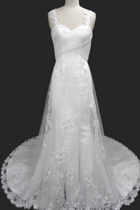 Lace Appliques Sweetheart Shoulder Straps Floor Length Tulle A-Line Wedding Dress Featuring Train