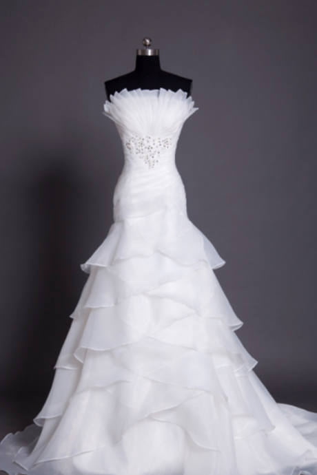 Custom Made White Strapless Fan Pleated Chiffon Wedding Dress with Cascading Detail and Rhinestone Beading