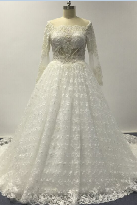 Lace Bateau Neck Long Mesh Sleeves Floor Length Tulle Wedding Gown Featuring Train