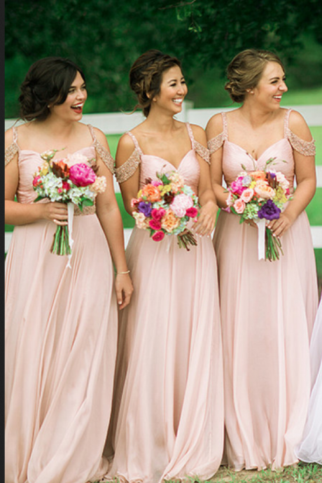 Bridesmaid Dress,Gorgeous Long Pink Chiffon Bridesmaid Dresses/Prom Dress,Wedding Guest Prom Gowns, Formal Occasion Dresses,Formal Dress