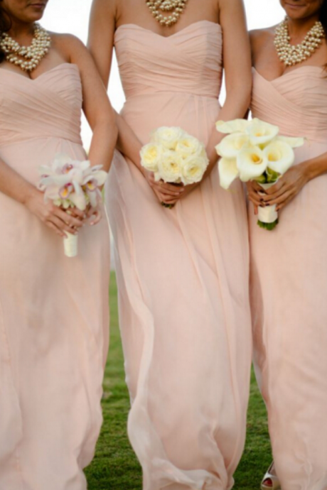 Elegant Sweetheart Floor Length Pearl Pink Bridesmaid Dresses, Bridesmaid Dresses, Wedding Party dresses,Wedding Guest Prom Gowns, Formal Occasion Dresses,Formal Dress