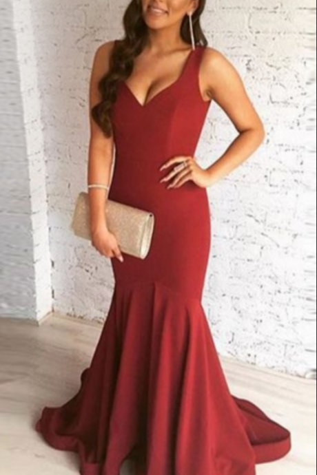 Burgundy Straps Trumpet Draped Sleeveless Sweep Train Evening Dresses