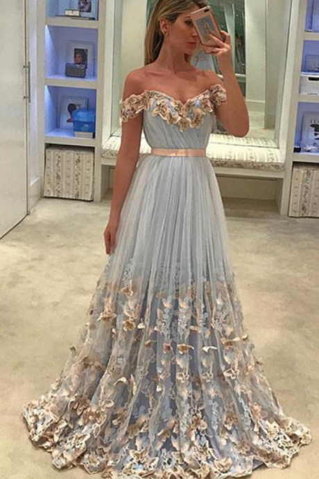 Fashionable UNIQUE TULLE LIGHT BLUE LONG PROM DRESS, TULLE EVENING DRESS