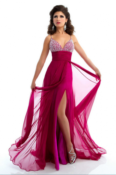 Long Evening Dress with Slit Beads Prom Dress