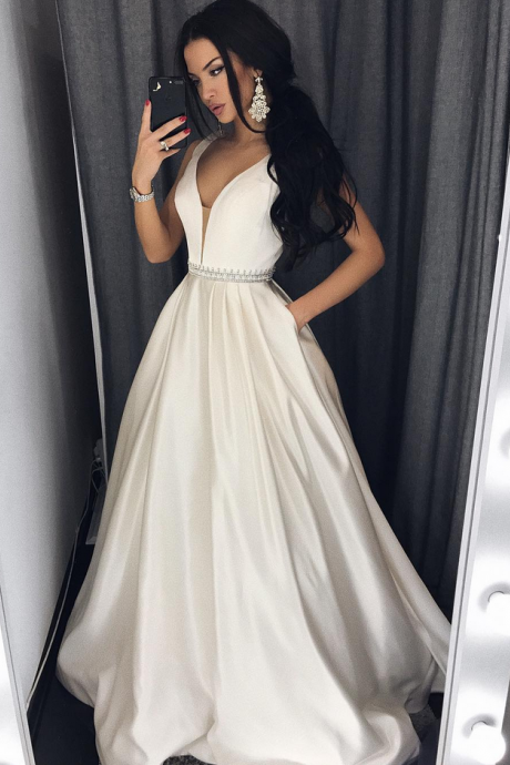 A-line Plunging Neck Long Prom Dress with Pockets