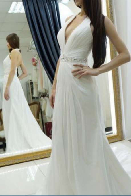 Halter Long White Prom Dress with Pleated Bodice