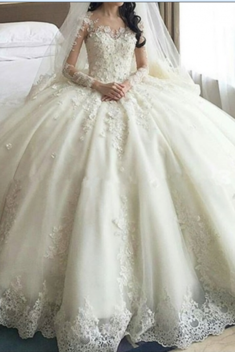Ball Gown V-Neck Long Sleeves Appliques Wedding Dress