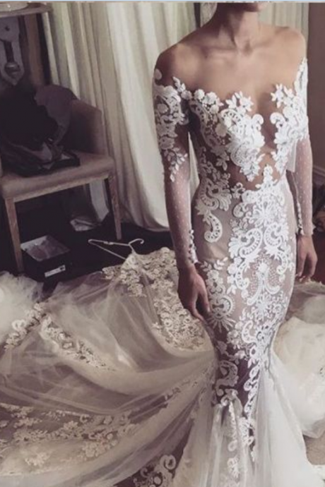 Sheer Off-the-Shoulder Lace Mermaid Long Wedding Dress Featuring Long Sleeves and Long Train
