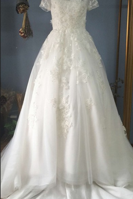 Popular Short Sleeve Wedding Dresses Beautiful Lace Wedding Dress