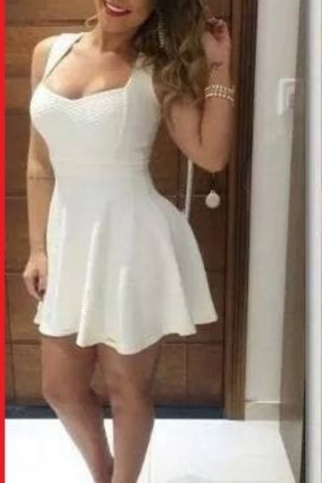Charming Homecoming Dresses,Graduation Dresses ,white Homecoming Dress,Short/Mini Homecoming Dress