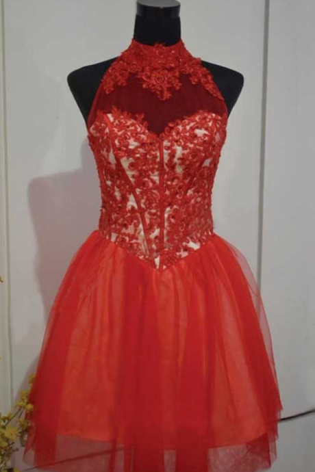 Red Homecoming Dresses Sleeveless A lines High Collar Hollow Short Lace