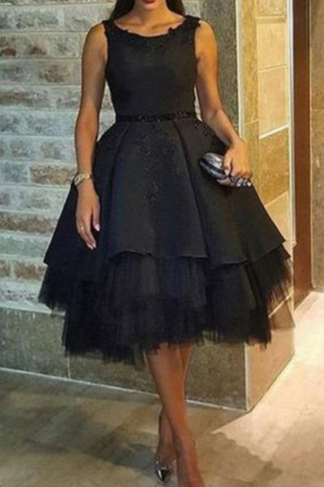 Black Homecoming Dresses Lace-Up Sleeveless Tulle Knee-length Scoop A lines