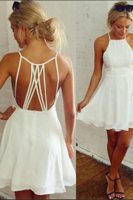 White Homecoming Dresses Hollow Sleeveless Aline Haltered Above Knee Criss-Cross