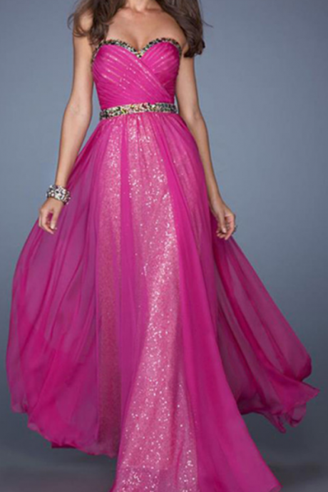 Celebrity Dress,Prom Dresses with Sequins,Prom Dresss with Beadings,Sparkling Prom Dresses,Rose Red Prom Dresses,Popular Prom Dresses,Long Prom Dresses,A-line Prom Dresses