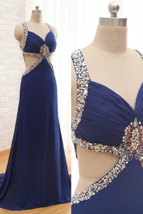 Sleeveless Beaded Ruched Chiffon A-line Floor-length Prom Dress, Evening Dress Featuring Cutout Detailing