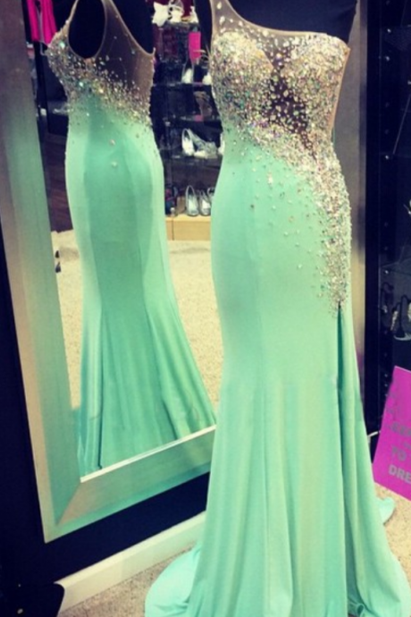 Glamorous Prom Dress -Mint Sheath One-Shoulder Dress with Beaded