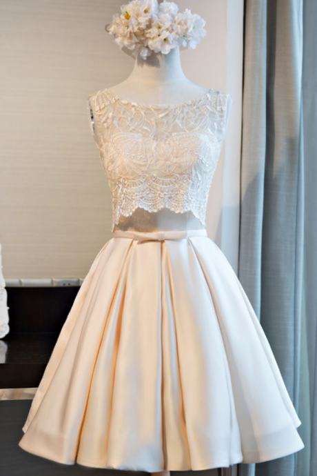 Custom Made White Two- Piece Short Lace Cropped Top Prom Dress with Satin Skirt