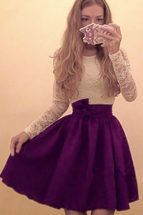 Homecoming Dresses Purple Long Sleeves Chiffon Zipper-Up Lace Above-Knee O-neck Aline
