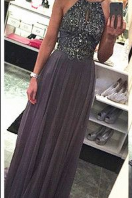 Chiffon Backless Prom Dress,Long Prom Dresses,Charming Prom Dress,Prom Dresses with Beaded