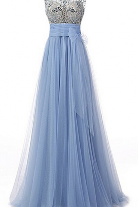 Women's Beaded Elegant Floor Length Bridesmaid Dress Sleeveless Tulle Prom Dresses