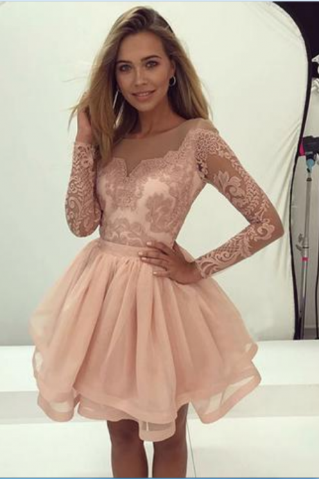 blush pink long sleeves A-line short homecoming prom dress