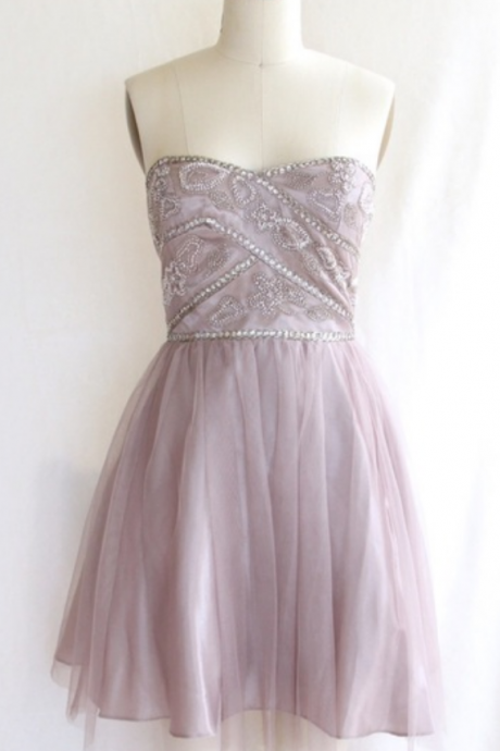 Cheap homecoming dresses ,Beaded Strapless Tulle Cocktail Dress, Short Party Dress, Homecoming Dress