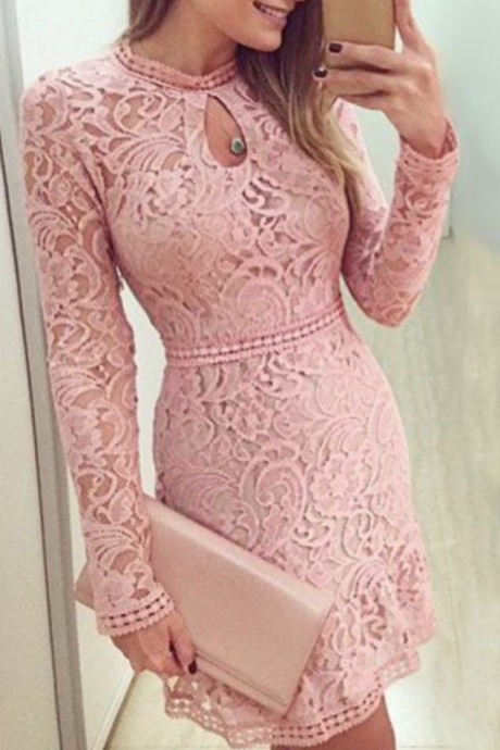 Blush Pink Homecoming Dress,Short Prom Dresses,Homecoming Gowns,Homecoming Dresses,Formal Dresses,Lace Graduation Dresses,Sweet 16 Gown