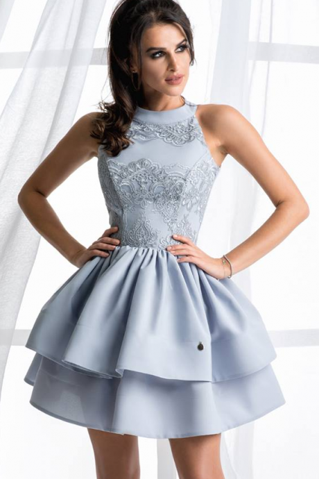 High Neck Homecoming Dress,Cheap homecoming dresses ,Light Blue Ball Gown Satin Homecoming Dresses