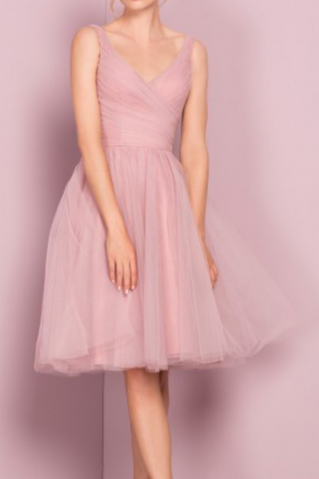 Sleeveless Pink Homecoming Dresses A lines Chiffon Knee-length V-Neck Scoop Zipper-Up A lines