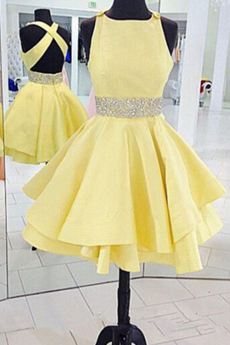 Sexy Criss Cross Back Yellow Prom Dress Short Homecoming Dresses Party Dress