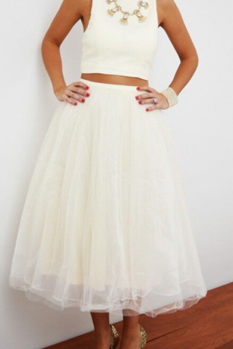 Cheap homecoming dresses ,Adorable White Plain Sleeveless Crop Top Homecoming Dress,Tulle High Waisted Tutu Skirt