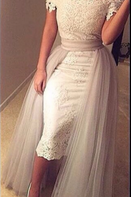 Prom Dresses,Prom Dress,Lace Homecoming Dresses Off-the-Shoulder Prom Dress with Detachable Skirt
