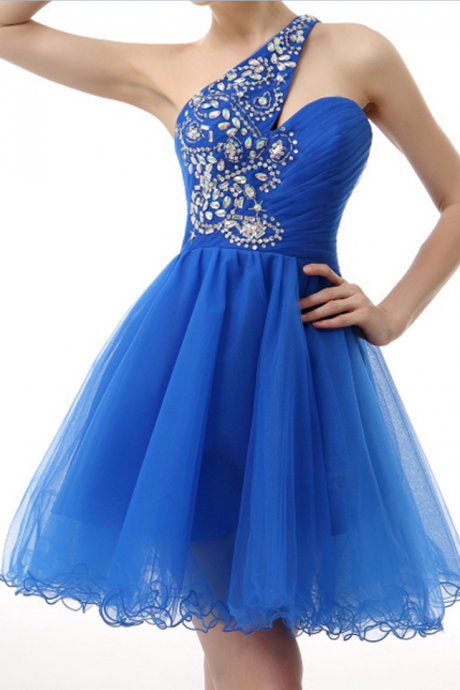 Tulle Homecoming Dresses,One Shoulder Evening Dresses,Beaded Cocktail Dresses, Ball Gown Popular Homecoming Dresses