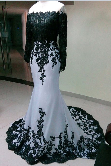 Long Sleeves Elegant whit chiffon with black lace Prom Dress , women formal party Dress,evening dress