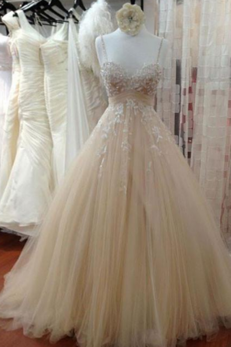Cheap Champagne Tulle Lace Long Prom Dress, Lace Wedding Dress