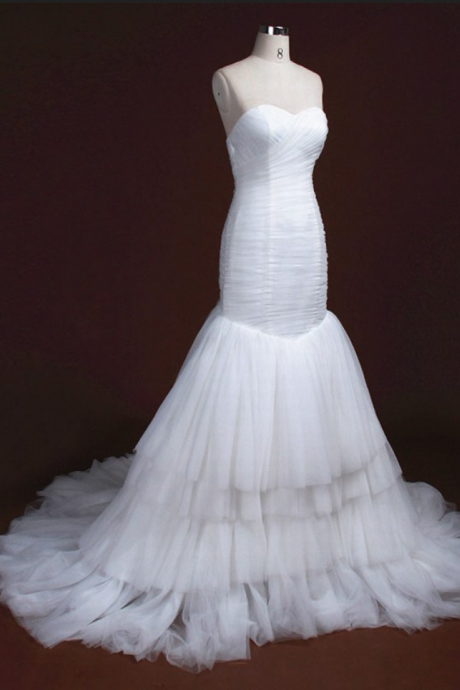 Strapless Sweetheart Ruched Mermaid Wedding Dress with Tiered Ruffle Skirt