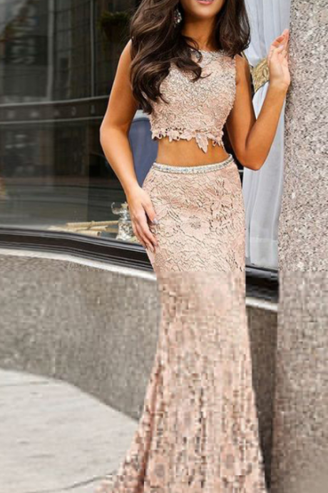 Light Champagne Prom Dress,Lace Two Piece Prom Dresses,Cheap Evening Dress New Fashion Lady Gowns