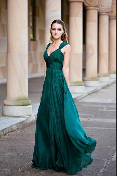 Emerald Green Sleeveless V-Neck Ruched Chiffon A-line Floor-Length Prom Dress, Evening dress