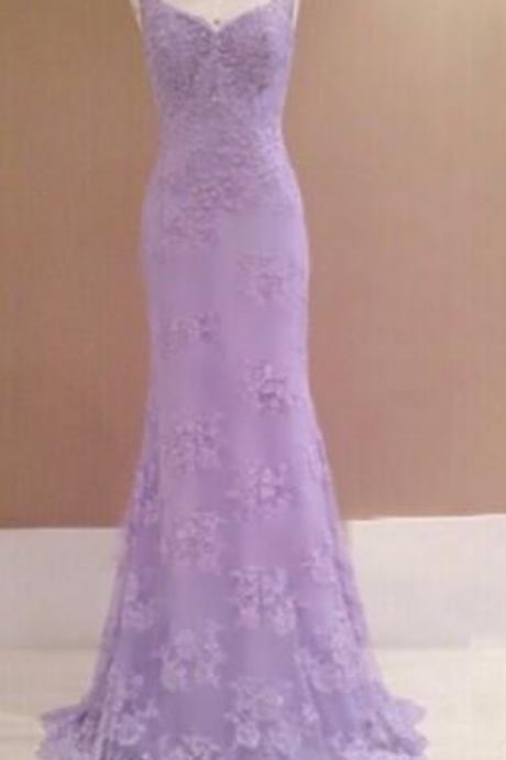 Prom Dresses,Evening Dress,Party Dresses,Lilac Prom Dresses,Vintage Prom Gown,Mermaid Evening Gowns,Lace Party Dress,Lace Evening Dress, Prom Dress