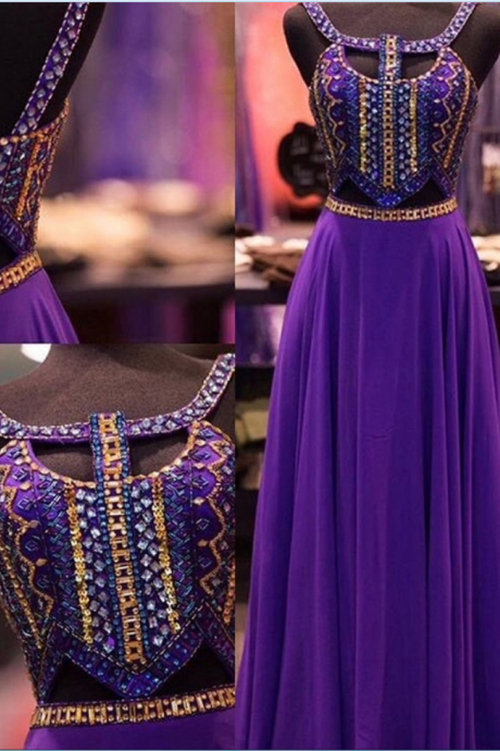 New Design Purple Beaded Prom Dresses,Open Back Prom Dress,Charming Evening Dresses,Evening Gowns,Elegant Party Dresses