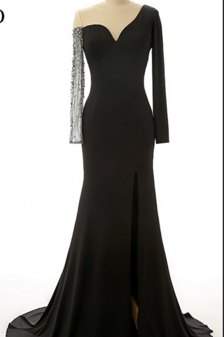 Black Mermaid Evening Dress New Fashion Special Occasion Dress Elegant Evening Gowns Tailor-made Sheer Shoulder