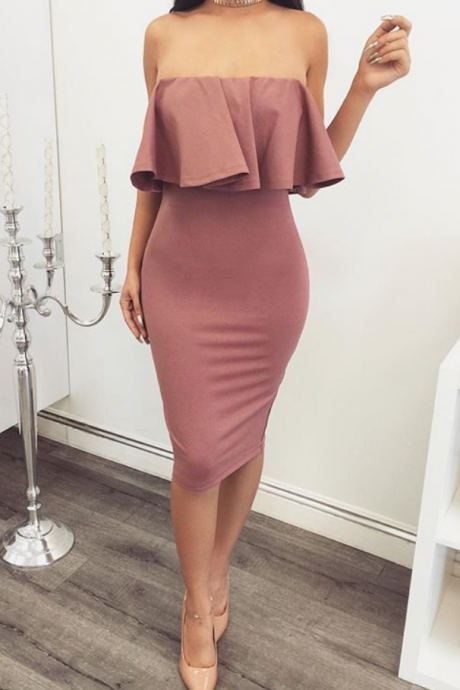 Custom Made Pink Strapless Ruffled Bodycon Pencil Dress, Homecoming Dresses, Graduation Dresses