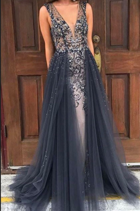 Charming Prom Dress,Sexy Prom Dresses,gray v neck tulle long prom dress, gray evening dress