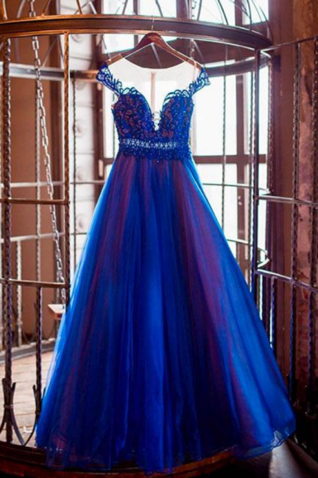 BLUE ROUND NECK TULLE LONG PROM DRESS, BLUE EVENING DRESS