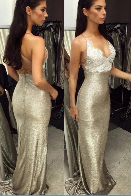 Prom Dresses,Evening Dress,Sexy Mermaid Spaghetti Straps Sleeveless Backless Lace-Top Long Prom Dress