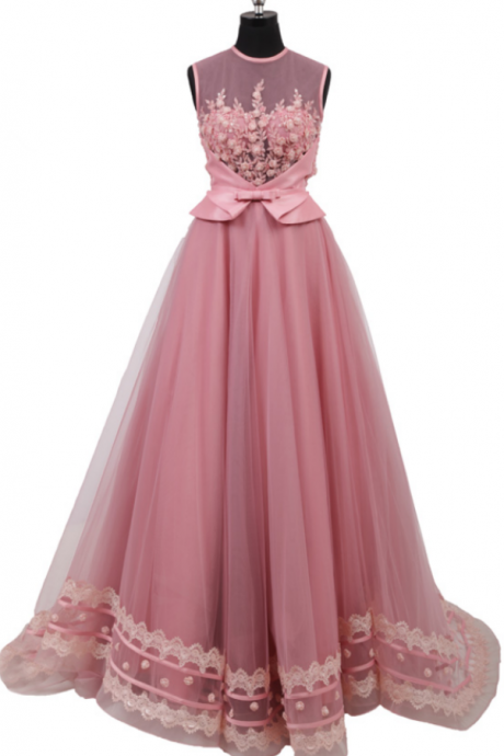 Jewel Neckline Illusion Bodice 3D Flowers Bead Open Keyhole Back A line Tulle Lace Edge Coral Pink Evening Dress